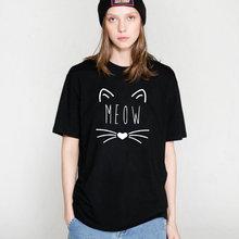 Camiseta Estampada Meow Cat para Mujer