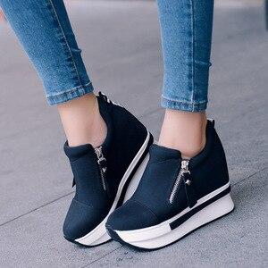 Image 5 - Кеды SWYIVY женские, холщовые кроссовки, на танкетке, Повседневная Удобная обувь, без застежки, однотонные, на осень