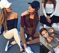 Fashion Women Slim Off Shoulder Shirt Crop Tops Long Sleeve Blouse Sweater