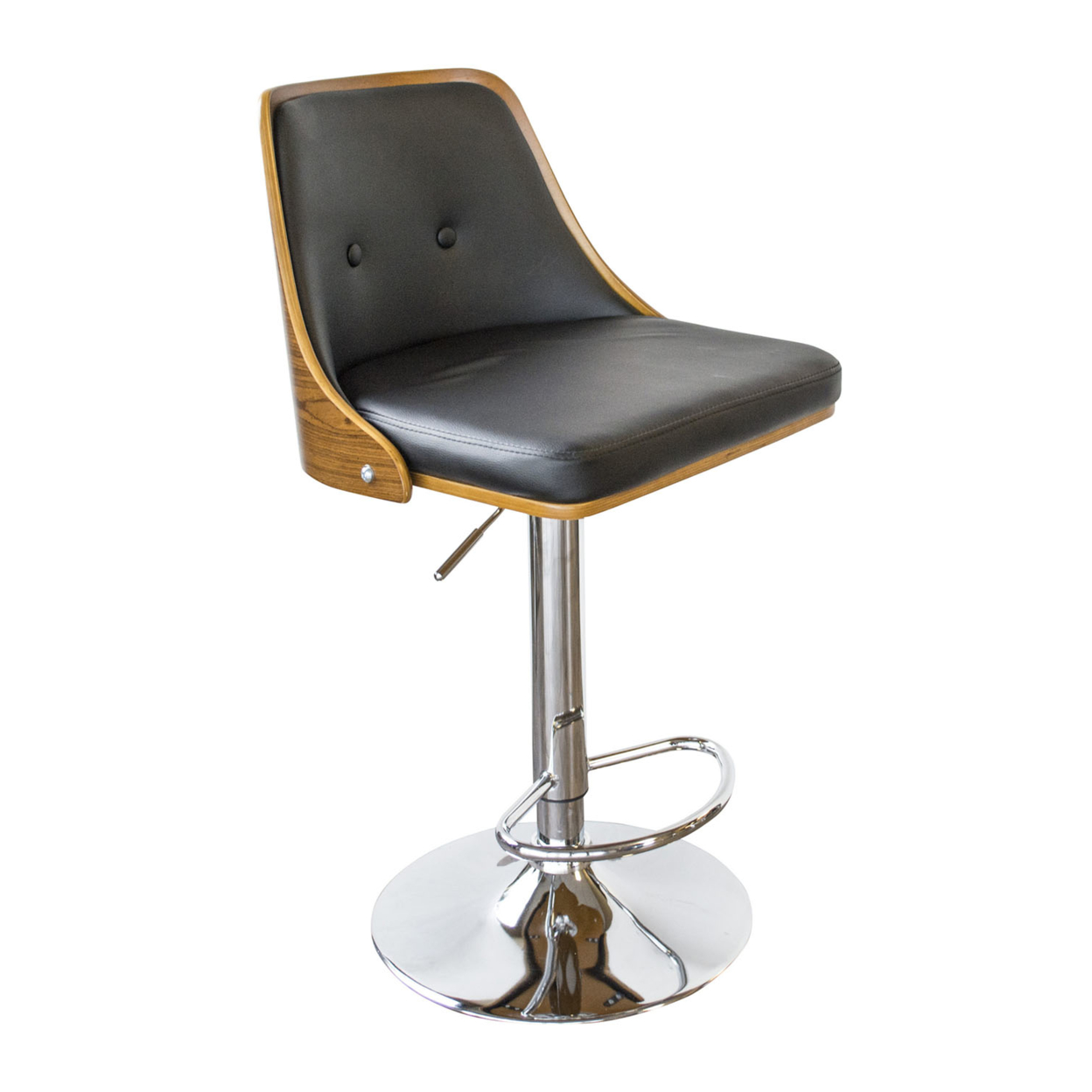 AmeriHome Bent Wood Onyx Faux Leather Bar Stool ...