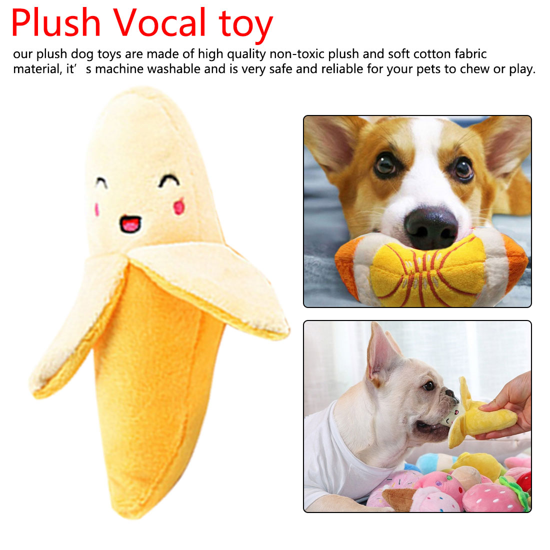 Stuffed Toy Squeaker Squeaky Plush Sound Fruits Vegetables watermelon stars Feeding Carrot Banana image