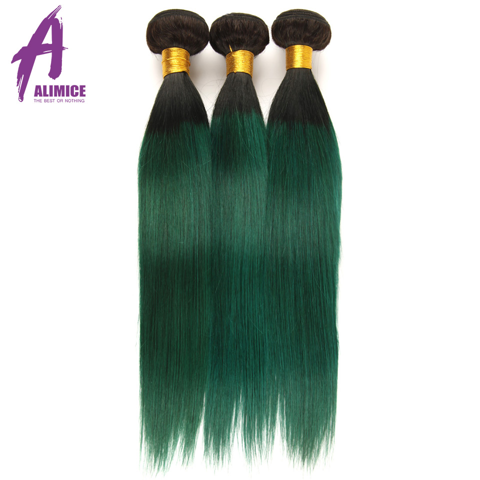 Alimice Ombre Bundles With Closure 3 Bundles With Closure 4PcsLot T1BGreen Dark Roots Brazilian Straight Human Hair Bundles (22)