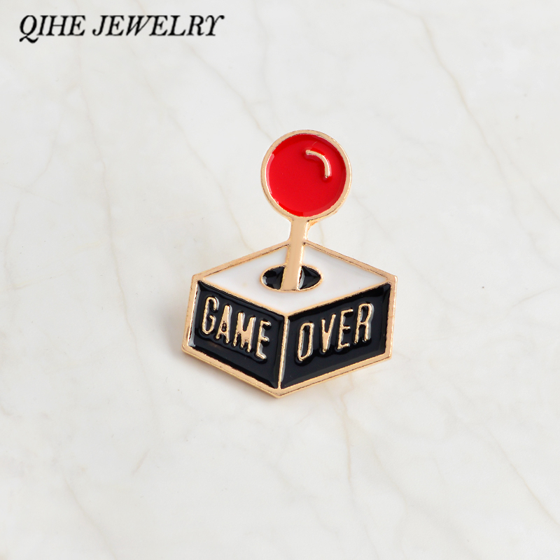 QIHE JEWELRY Pins and brooches Game over console pin Kawaii cute pins badges lapel pin For your tote bag hat jackets gifts