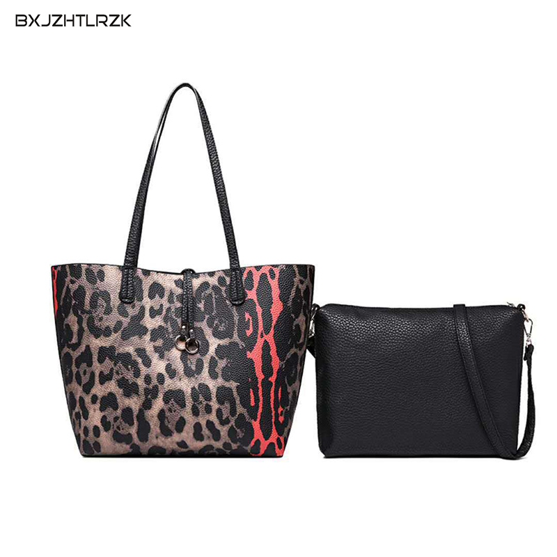 Winter 2Pcs/Set High Quality Woman Leopard Casual Style Large Capacity Hand Bag And A Small Shoulder Bag Multi function Lady BagWinter 2Pcs/Set High Quality Woman Leopard Casual Style Large Capacity Hand Bag And A Small Shoulder Bag Multi function Lady Bag