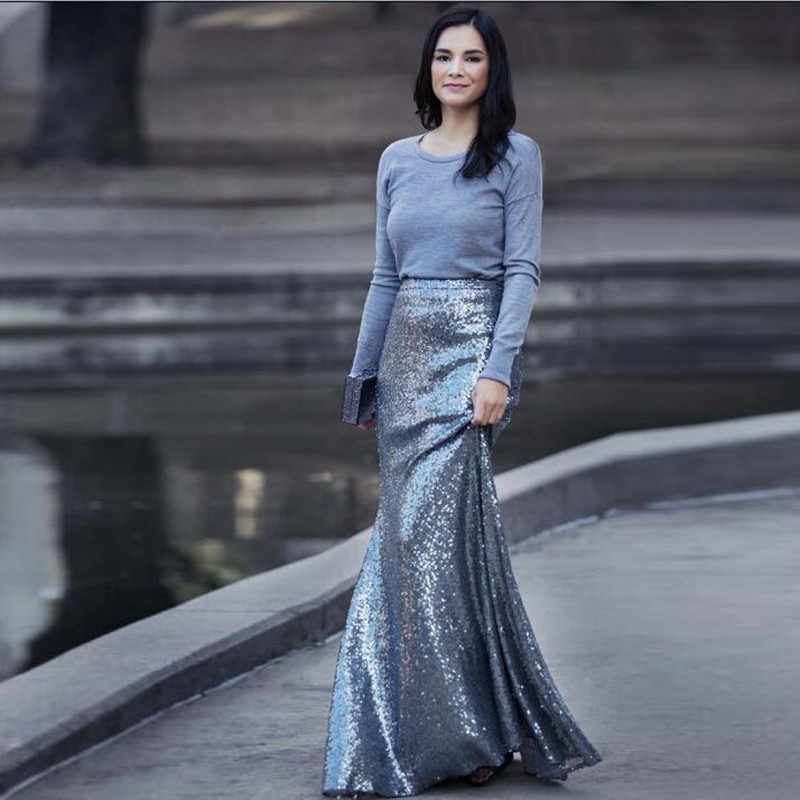 d2b7bcaf4 Street Style Fashion Shiny Mermaid Long Skirts Womens Silver Gold Sequin  Skirt Sexy Empire Waist Sparkly
