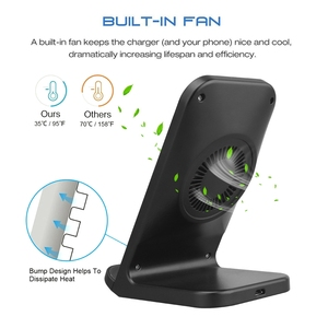 Image 3 - FDGAO Fast Qi Wireless Charger Quick Charge 3.0 USB 10W Fast Charging Stand with Cooling Fan for iPhone XR XS X 8 Samsung S10 S9