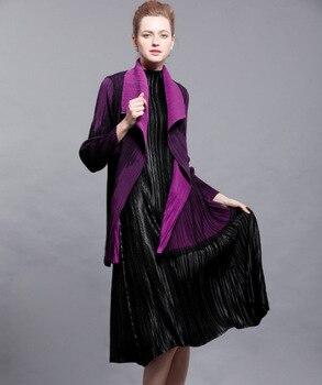 Miyake Spring fashion stitching gauze waist coat lapel fold  clothes pleated trench free shipping