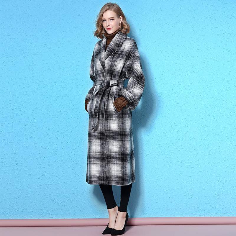Plaid 2017 Women Coats Long Winter Cashmere Wool Jacket Cloak Fall Fashion Tweed Jackets Coat Cape Ladies Boho Windbreakers
