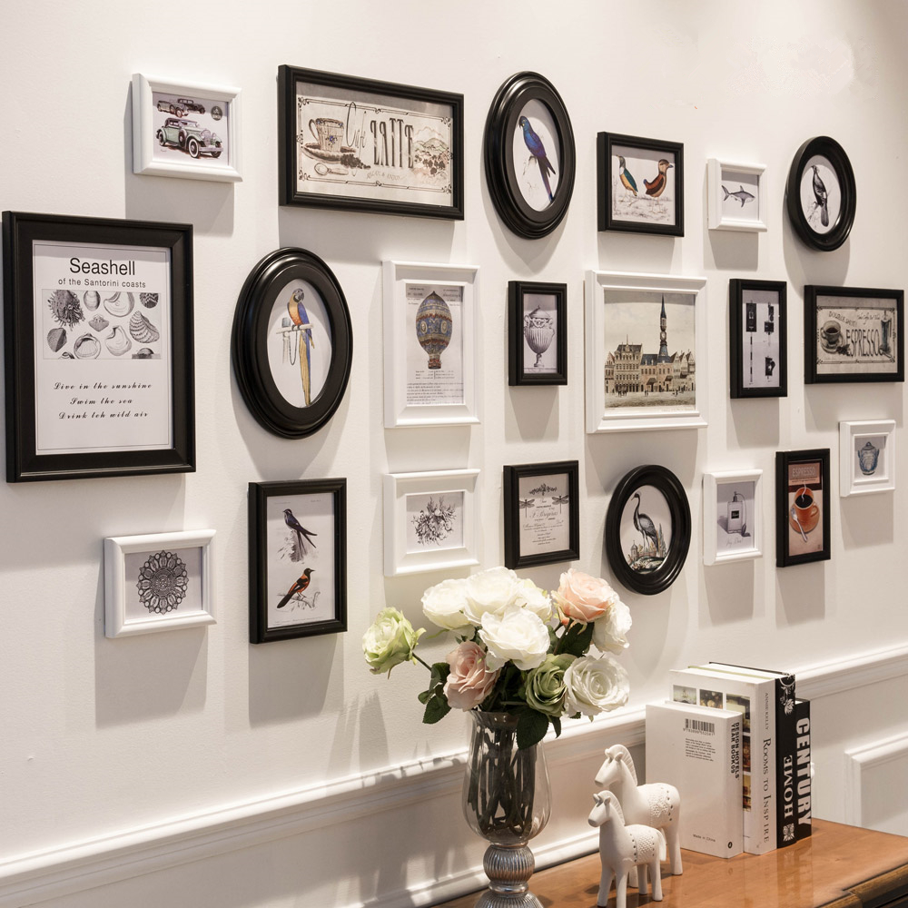Classic White Black Wooden Photo Frame 21pcs Set Picture