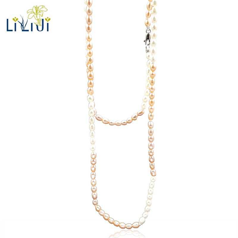 LiiJi уникальный с высокой степенью блеска, Mutli Color крошечные настоящая пресноводная жемчужина 925 пробы серебро элегантные длинные Цепочки и ожерелья 115 см для Для женщин