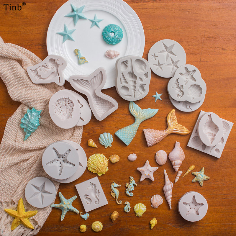 TINb 3D Mermaid Tail Silicone Mold Sea Shell Starfish