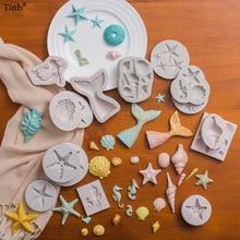 3D 인어 꼬리 케이크 실리콘 금형 바다 쉘 불가사리 퐁당 금형 케이크 장식 도구 설탕 공예 초콜릿 금형 제빵 도구