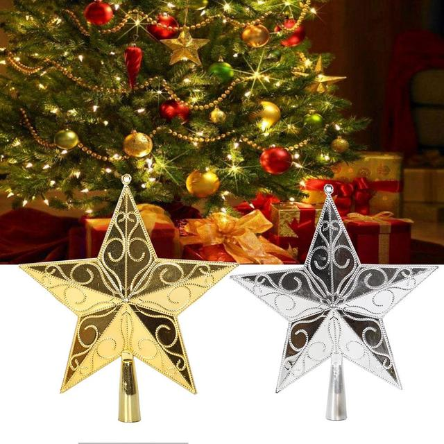 1pc christmas tree decorations 3d shimmer ornament star tree top decor home decoration accessories gold silver