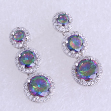 Love Monologue Top Quality Round Multicolour Mystic Cubic Zirconia Silver Color Drop Earring for Wedding B0086