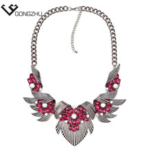 GONG ZHU Crystal Flower Chain Necklace  Alloy Choker Necklace Short Necklace Retro Fashion Jewelry 2016 For Women