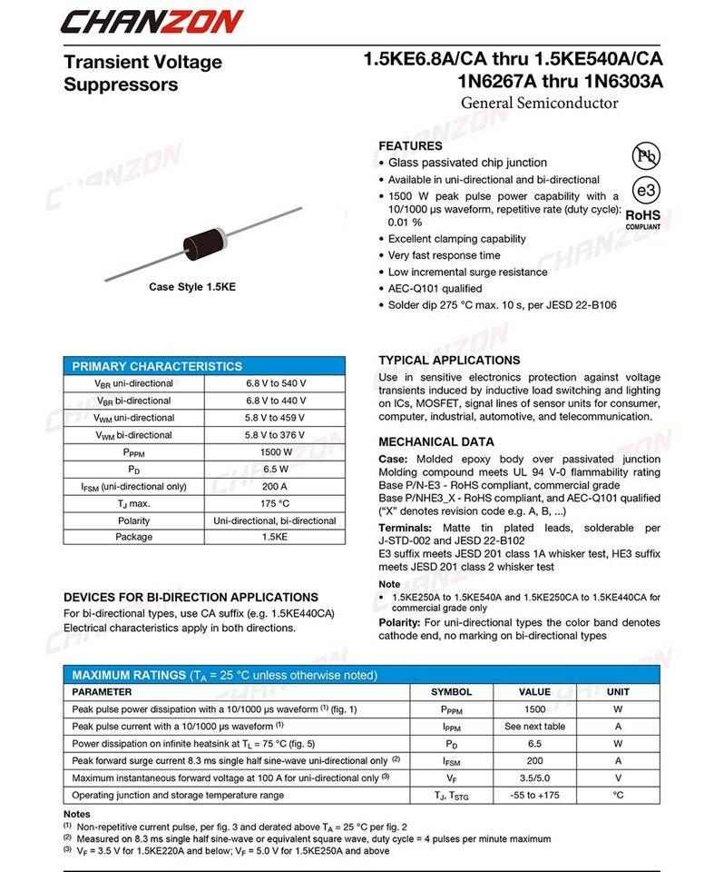 TVS Diodes Transient Voltage Suppressors 1500W 10V Bidirect 50 pieces