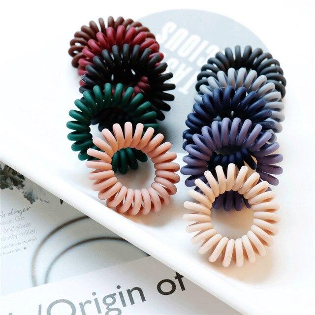 4PCS Korean Elastic Hair Bands Fashion Telephone Wire Hair Ties Donut Ponytail Hairstyle Gum Women Girls Spiral Scrunchies Set