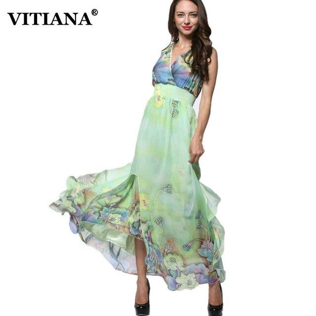 04d2b818d690a8 Vrouwen Zomer Elegante Strand Jurk Mouwloze Chiffon Kleding Dames Bohemian  Print Maxi Lange Jurken Plus Size