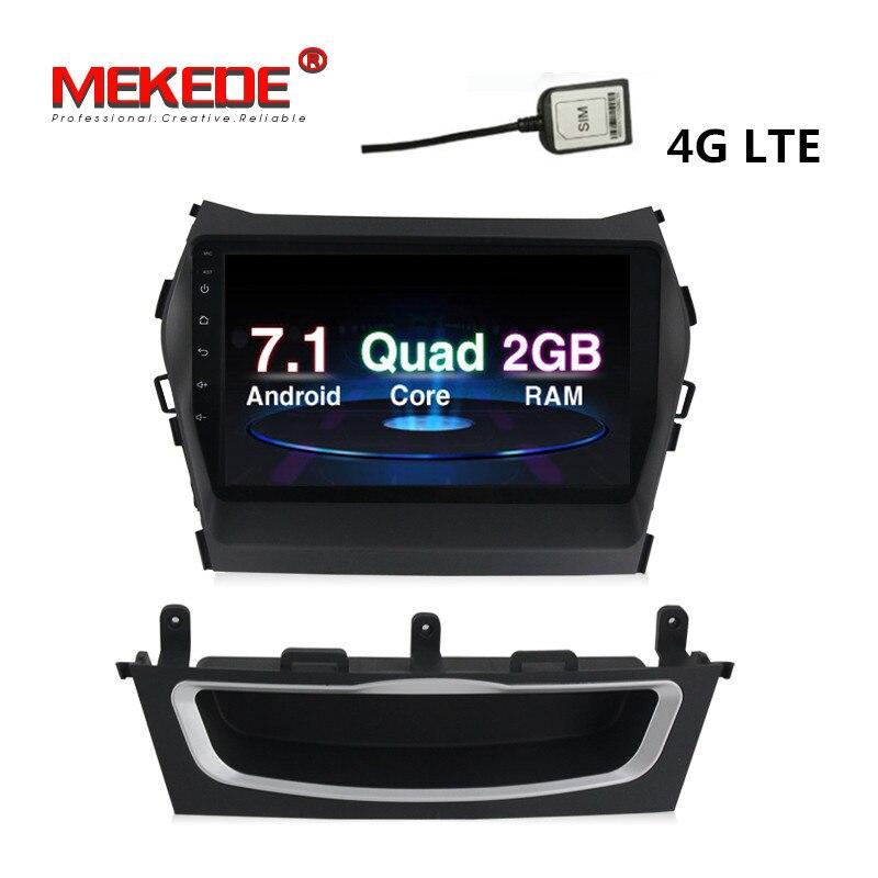 4G wifi BT 1024x600 HD screen Android 7.1 car dvd multimedia player radio for Hyundai IX45 Santa fe 2013 2014 Car GPS navigation