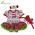 Bebê meninas trajes do natal Romper vestido + Headband + sapatos conjuntos de roupas ano novo roupas de festa Bebe princesa do navio da gota livre