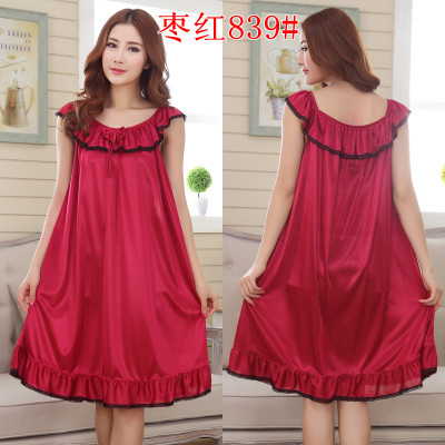 2018 Womens Summer Loose Long Sleepwear Plus Size Ladies Sexy Satin Lace Nightdress Girls Robe Ruffle Sleepshirts Nightgowns