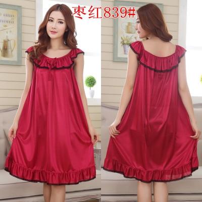 2018 Womens Summer Loose Long Sleepwear Plus Size Ladies Sexy Satin Lace Nightdress Girls Robe Ruffle   Sleepshirts     Nightgowns