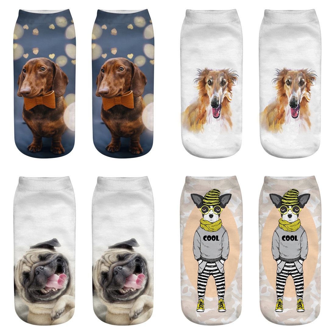 New Cute Socks 1 Pairs 3D Dog Printed Sock New Unisex Low Ankle Sock Soft Printing Socks Casual Animal Printed Dogs Patterns image