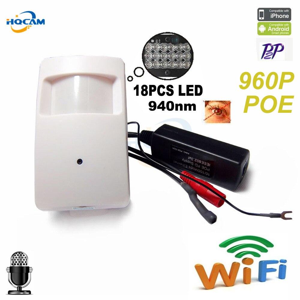 Hqcam 960 P Беспроводной PIR POE Wi-Fi IP Камера аудио Камера Мини Wi-Fi 940nm светодиодных ИК IP камера видеонаблюдения cam Ночное видение Камера hi3518e