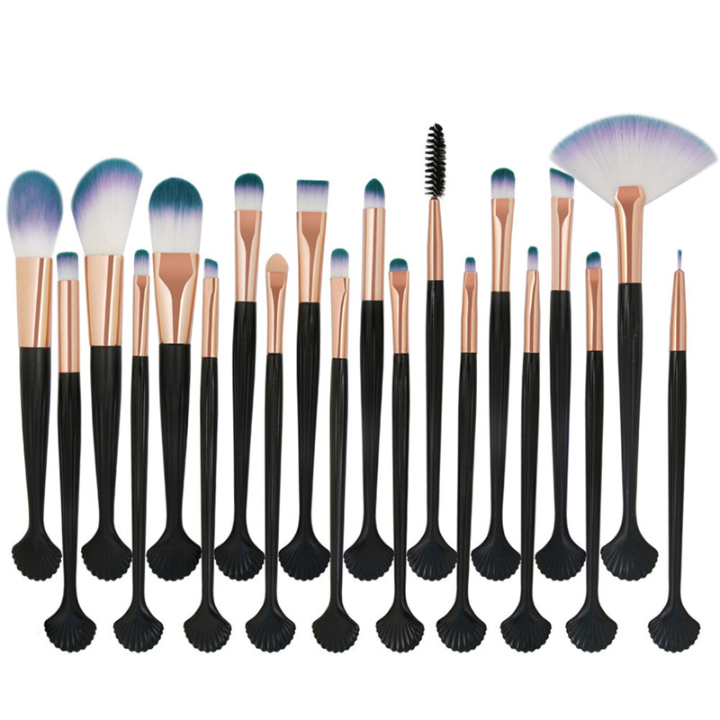 Pro 20Pcs Face Eye Makeup Brushes Shell Shape Make Up Brushes Women Cosmetic Sets Eyebrow Eyeliner Eyelashes Eyeshadow Brush Set