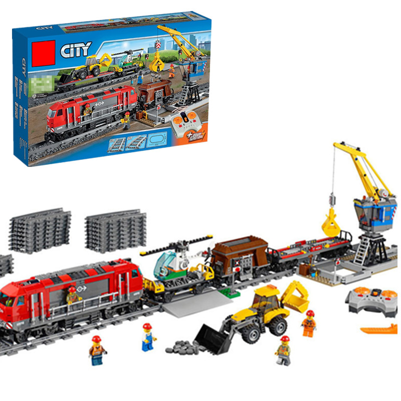 Compatibility legoingly City Blocks the Red Cargo RC Train Remote Control Engineering Transport Train Building Bricks 60098 Gift city creators radio remote control heavy haul train building block worker figures engineering bricks 60098 rc assemblage toys