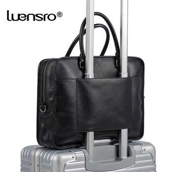 LUENSRO Real Leather Men Business Briefcase Black Large Capacity Man Handbag Totes Male Trave Bag Laptop Shoulder Bag Briefcases - DISCOUNT ITEM  55 OFF Luggage & Bags