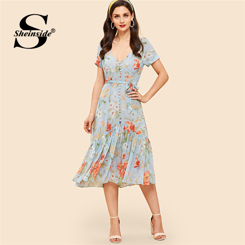 Sheinside Vintage bouton Up ourlet à volants robe botanique pour les femmes bleu col en V robes d'été avec ceinture 2019 dames longue robe