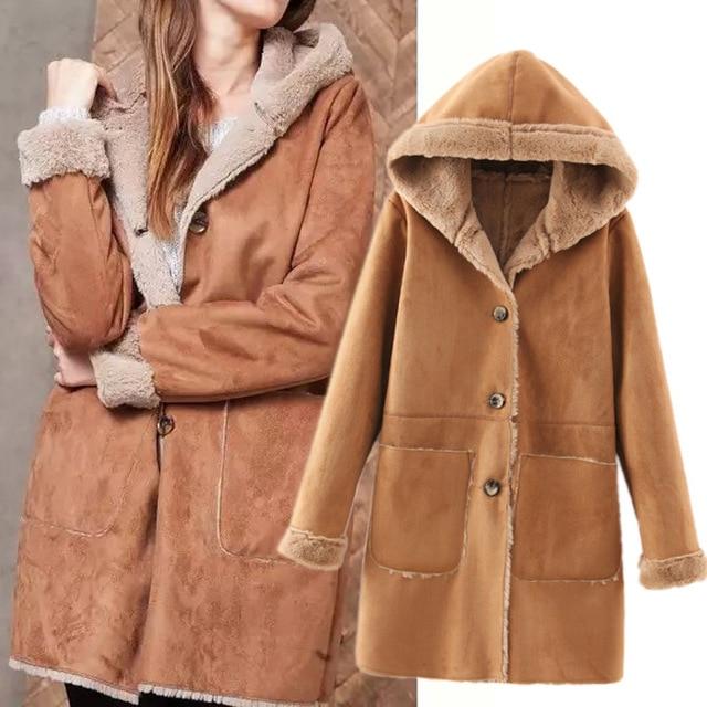 b725f15633ece0 2015 Winter Ladies Hooded Faux Sheepskin Long Tan Shearling Coats Jacket  Women 042