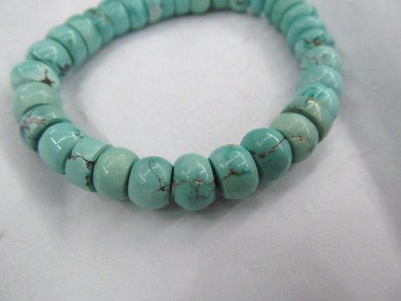 Top qualité véritable turquoise perles rondelle boulier bleu aqua perles de bijoux bracelet 5 x 8 mm 40 pcs