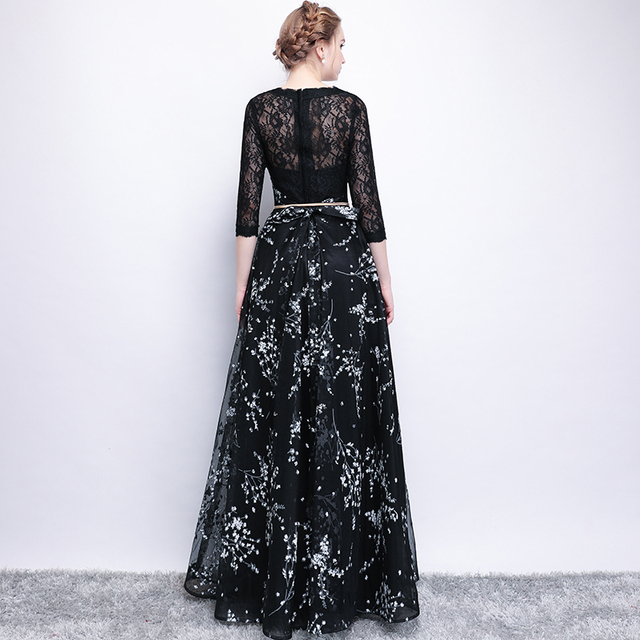 The Bride Simple Black Lace Stitching 3/4 Sleeved Long Prom Party Gown