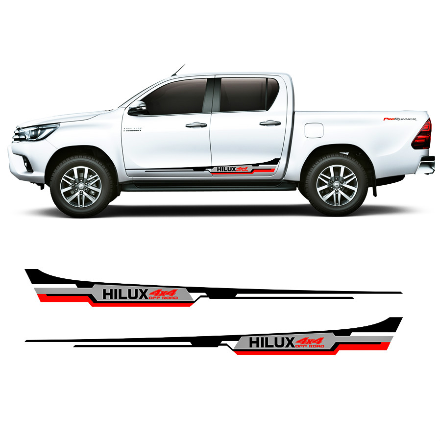 free shipping 2 side door cool three colors 4x4 vinyl graphics strickers kit for for TOYOTA HILUX revo 2015 accessories decals 2015 2017 car wind deflector awnings shelters for hilux vigo revo black window deflector guard rain shield fit for hilux revo