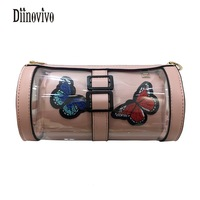 DIINOVIVO Embroidery Butterfly Candy Barrel Shaped Transparent Summer 2018 Composite Bag Lovely Shoulder Bags Small Bags