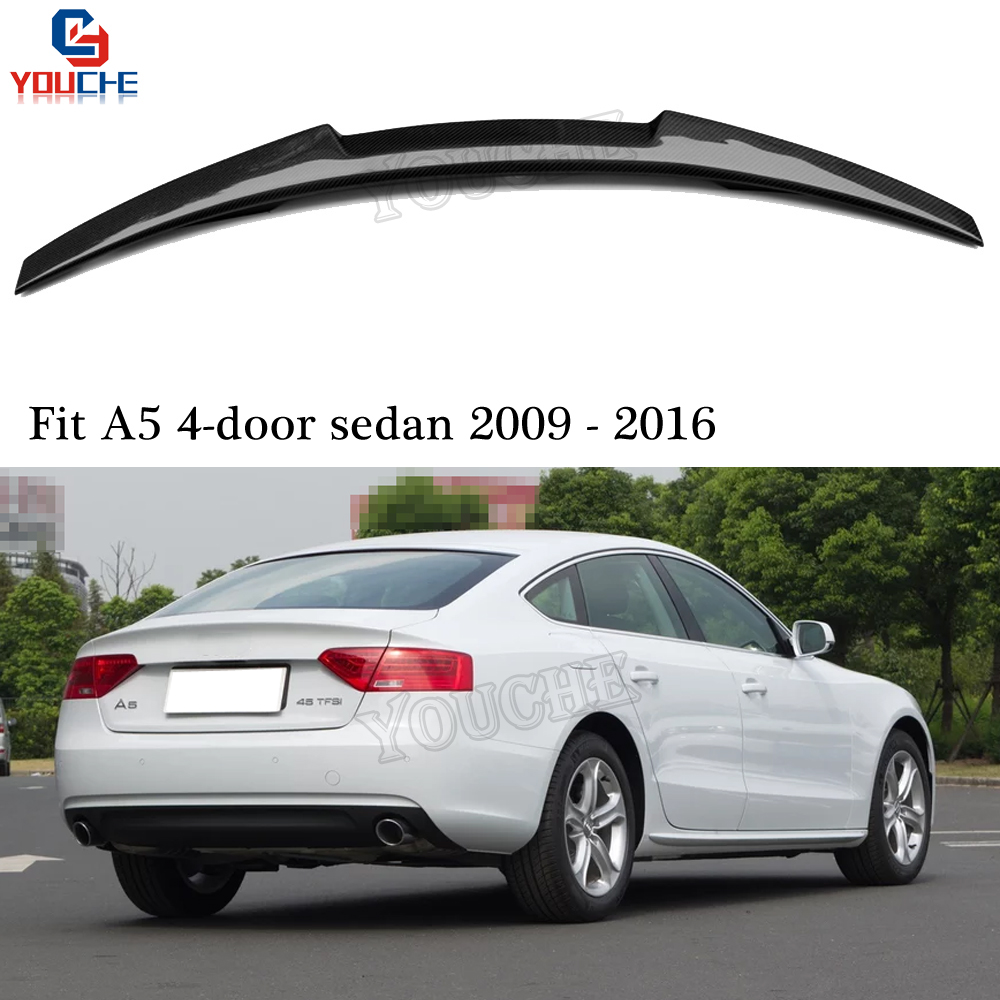 M4 Style Carbon Fiber Rear Spoiler Trunk Wing for <font><b>Audi</b></font> <font><b>A5</b></font> 4-door <font><b>Sportback</b></font> Sedan 2009 - 2016 Trunk Boot Lid Lip Tail Spoiler image