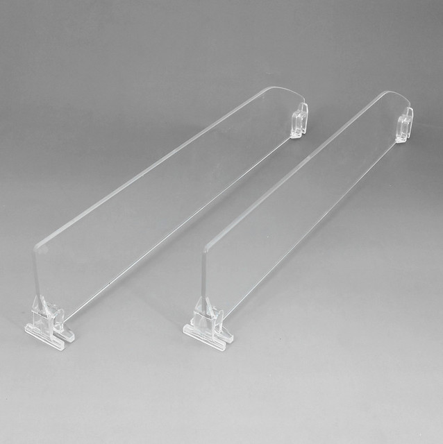 Plastic Supermarket Retail Shelf Acrylic Transparent Dividers L 286mm Matched With Pushing System And Rails Available 10pcs
