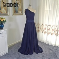 One Shoulder Dress With Satin Sash VW360215 Dark Blue Bridesmaid Dresses With Sash Front Slit Wedding