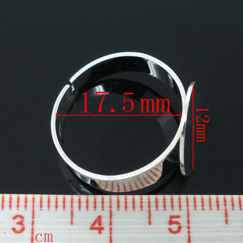 20Pcs Silver Tone Copper Adjustable Rings Blank Glue-on Charms Jewelry Making 17.5mm (US 7) Fit Cameo 12mm