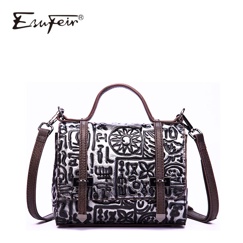 2018 ESUFEIR Brand Cow Leather Women Bag Fashion Embossing Women Handbag Vintage Luxury Design Women Crossbody Bag sac a main mynos vintage luxury brand design 100