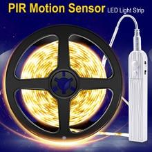купить LED Sensor Night Light PIR Motion LED Strip Waterproof Kitchen Cabinet Light Tape Wireless LED Closet Lamp Stairs Wardrobe Lamp дешево