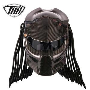 Carbon Fiber Motorcycle Predator Helmet Full Face DOT certification High quality casco depredador clear colorful lens