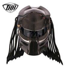 Karbon Fiber motosiklet Predator kask tam yüz DOT sertifikası yüksek kaliteli kasko depredador şeffaf renkli lens