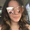 Cateye Óculos De Sol Das Mulheres de Grandes Dimensões Espelho Rosa de Ouro Senhoras Da Moda Máscaras Femininas Do Moderno Hip Hop Óculos de Sol para As Mulheres UV 400