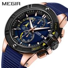 MEGIR мужские часы лучший бренд класса люкс Хронограф Спортивные часы с синим силиконовым ремешком светящиеся Relogio Rasculino Erkek Kol Saati
