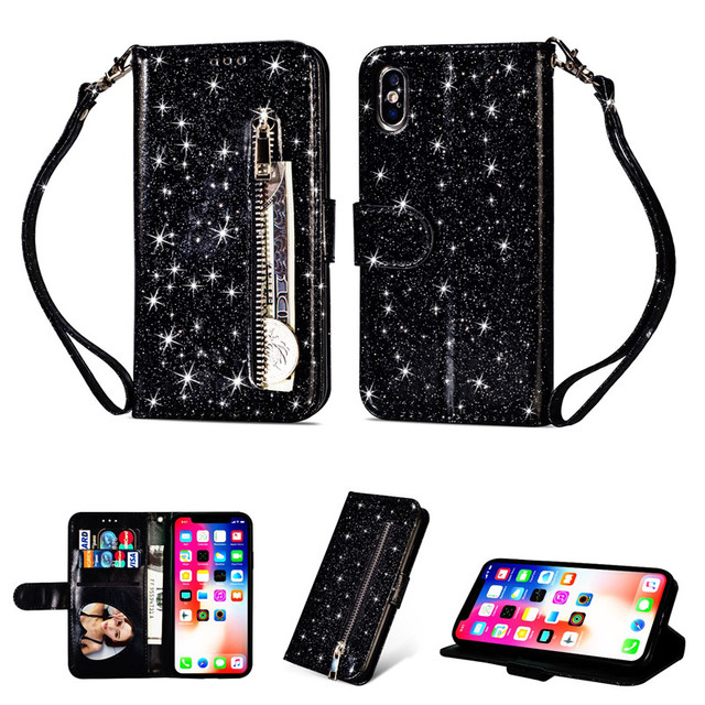 outlet store fd4a2 31e33 US $4.87 22% OFF|Zipper Wallet Leather Case For iPhone X Xr Xs Max 8 7 Plus  Soft Bling Glitter Cover For iPhone 10 8 7 6 6s Plus Flip Phone Cases-in ...