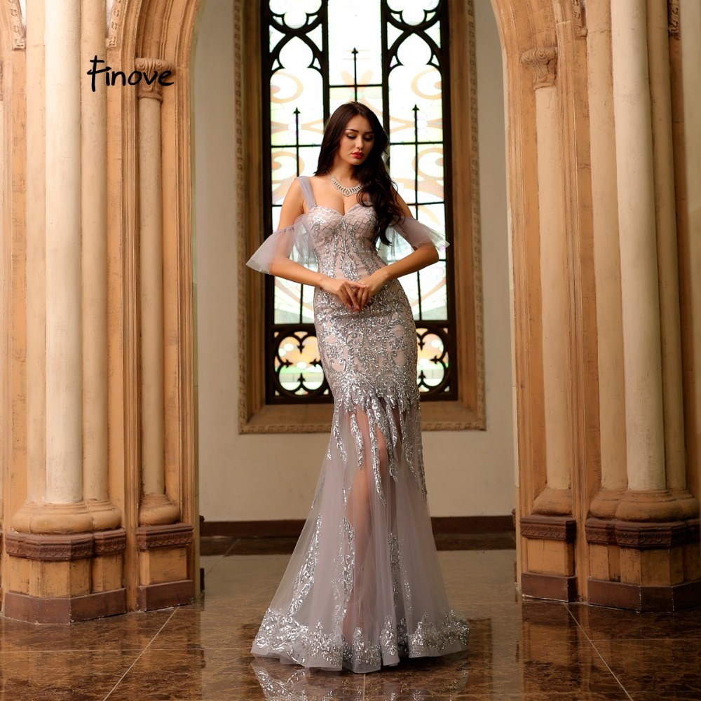 Finove Reflective Dress 2019 Evening Dress Sexy Shinning Sequined Tulle Sweet Heart Mermaid Floor Length Party