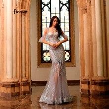 Finove, светоотражающее платье,, вечернее платье, сексуальное, блестящее, расшитое блестками, тюль, милое сердце, Русалка, длина до пола, вечерние платья для женщин